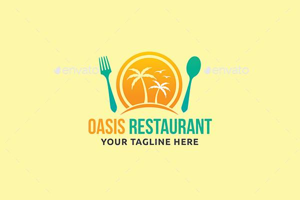 Minimalistic Oasis Restaurant Logo