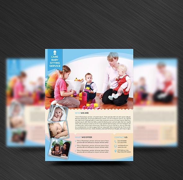 modern daycare flyer template