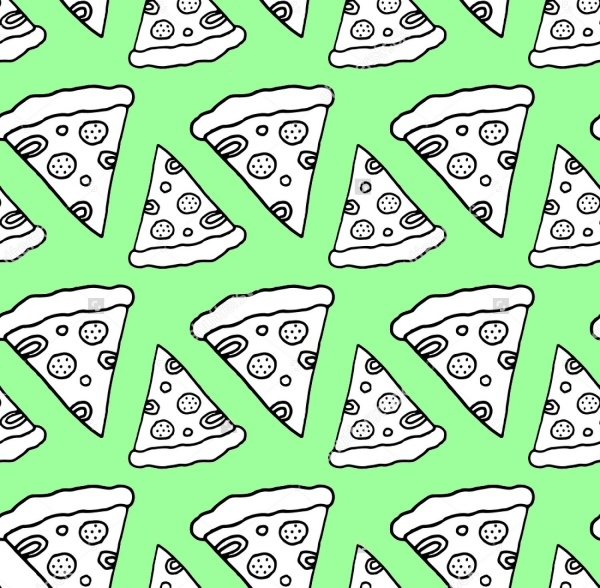 Monochrome Seamless Pizza Pattern