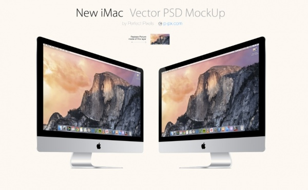 NEW IMAC 3 VIEWS VECTOR PSD MOCKUP