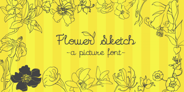 Ornamental Flowers Sketchy Font