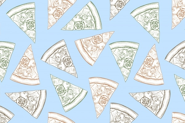 Outline Pizza Seamless Pattern