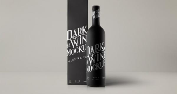 PSD Red Wine Dark Bottle Mock-up