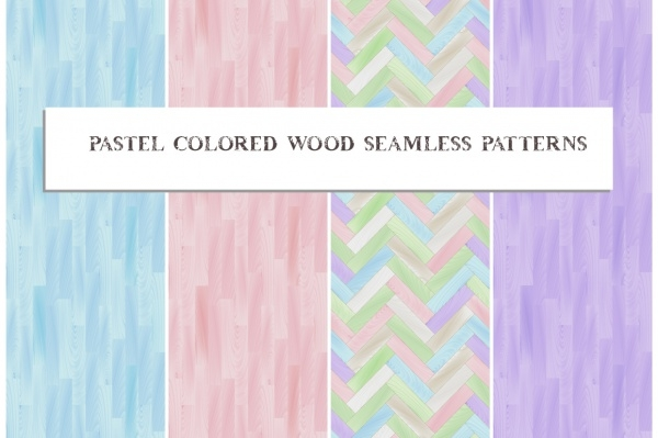 Pastel colored wooden floor patterns