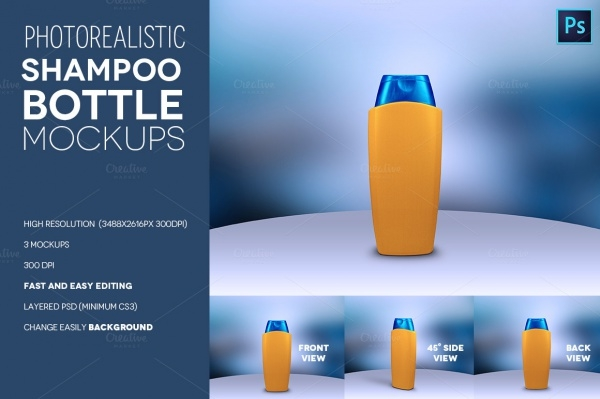 Photorealistic Shampoo Bottle Mock-up