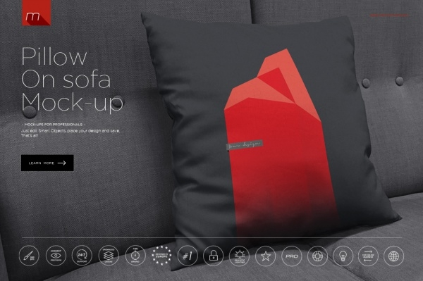 Pillow on Sofa Mock-up