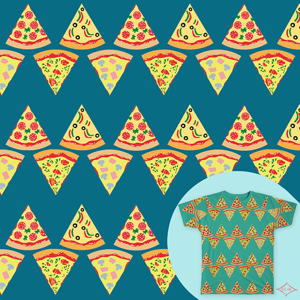 Pizza Bacon Strips Donut Pattern