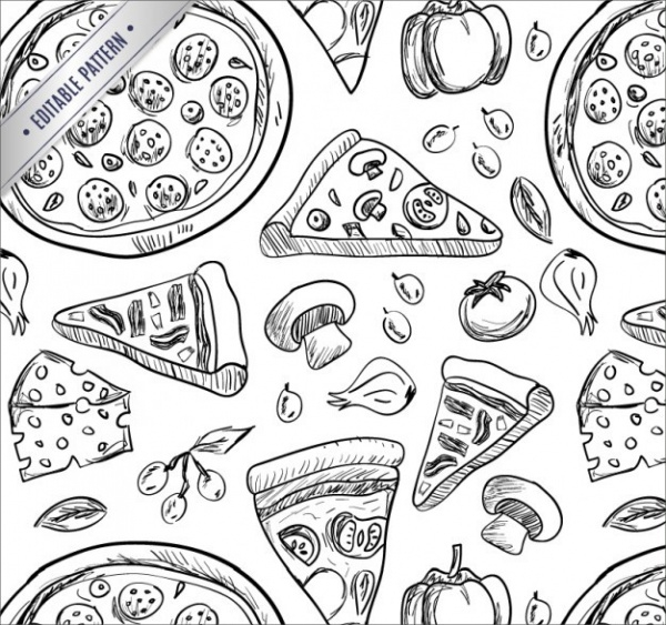 Pizza Hand Drawing Pattern