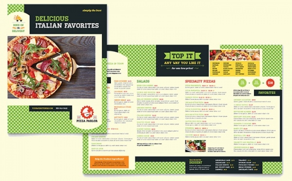 Pizza Parlor Menu Bi-fold Design