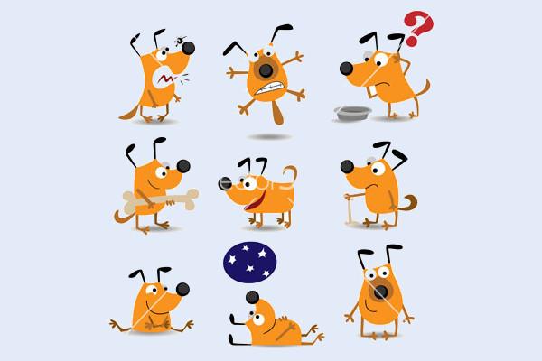 Playful Cartoon Dogs Vector