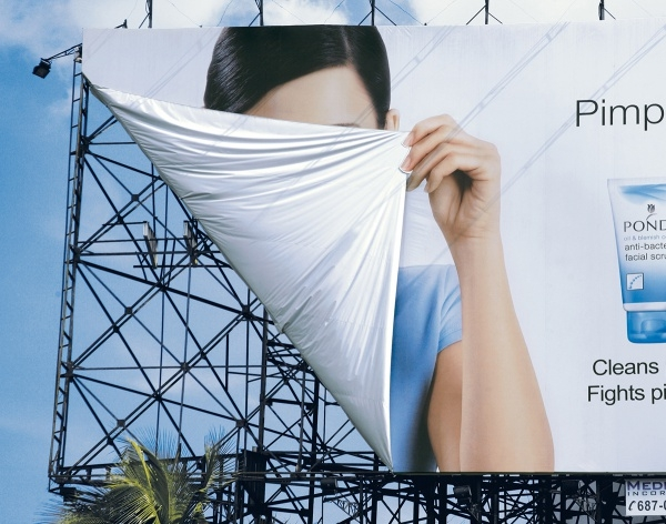 Ponds Facial Scrub - Hiding Curtain Billboard