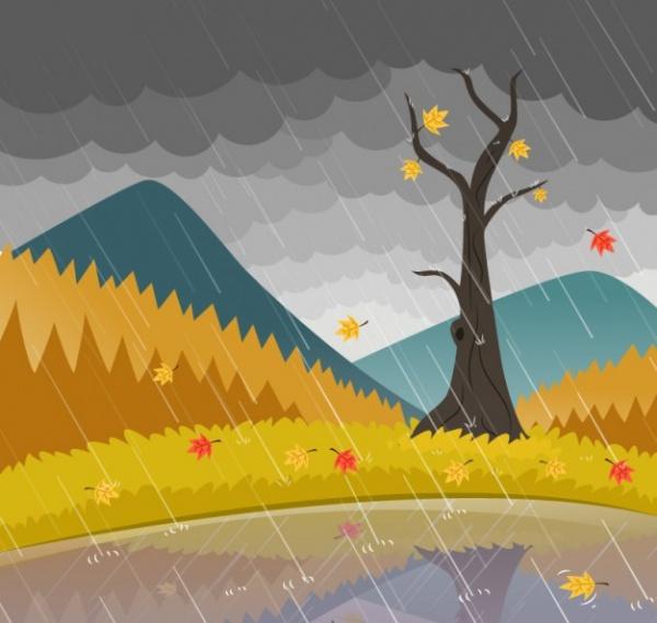 Rainy landscape Storm Vector