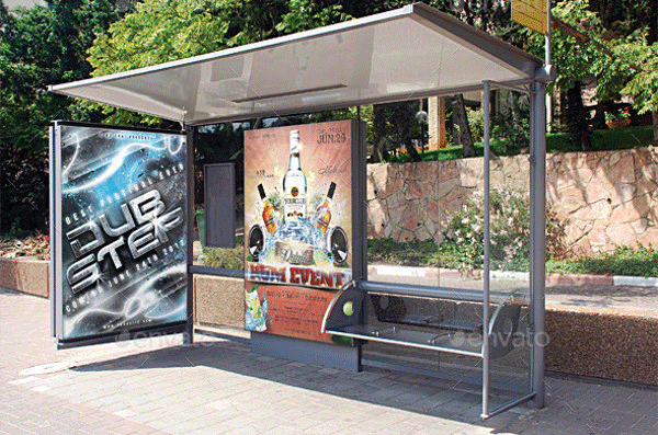 realistic bus stop flyer poster mockup1