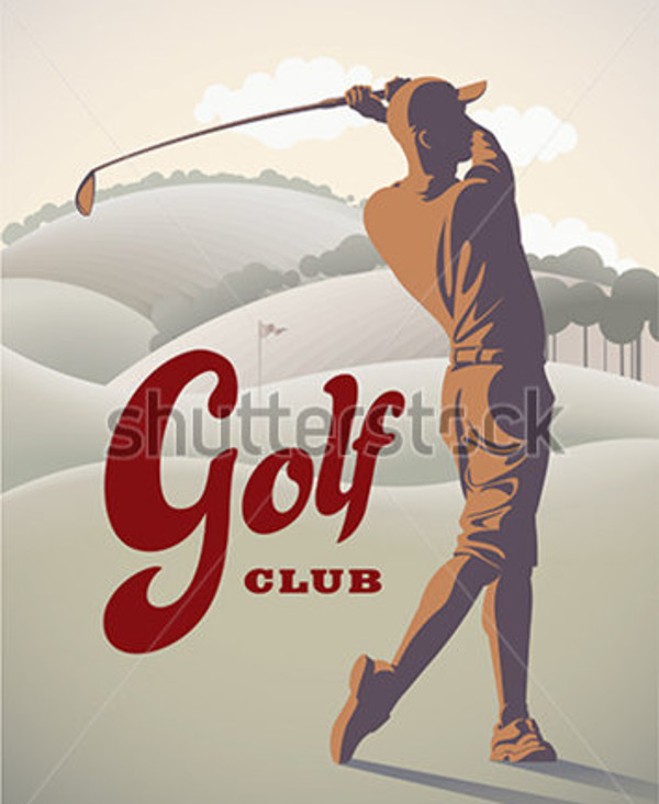 Retro Golf Swing Vector