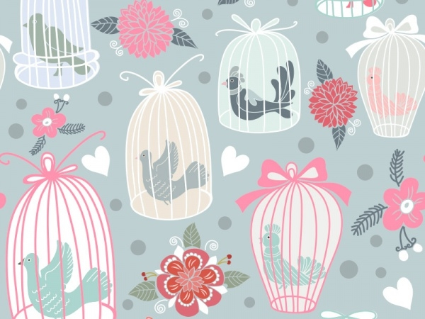 Seamless Pattern Bird Cages