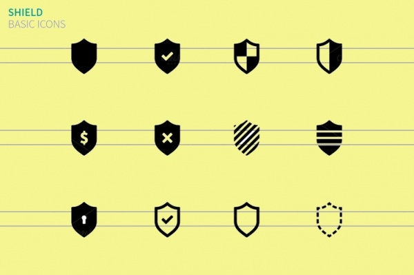 Security Shield Icons On White
