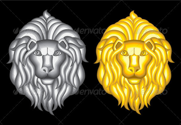 silver and gold lion vector