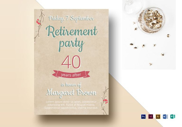 simple retirement party flyer template