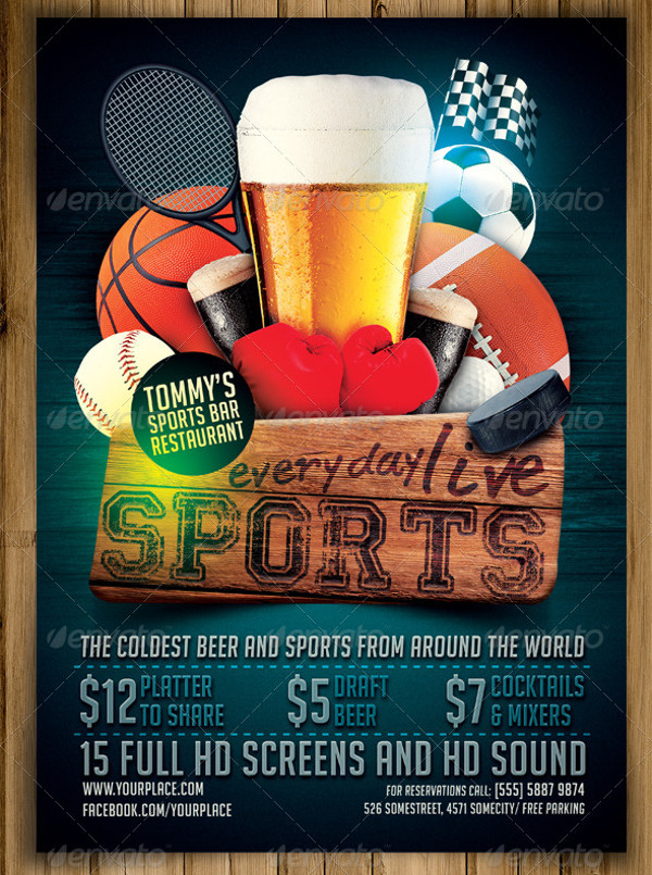 Sports Bar PSD Flyer