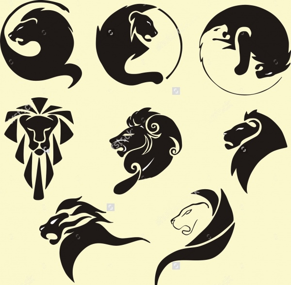 Stylized black lions Vector