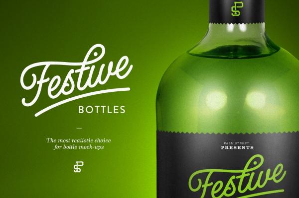 Tequila Green Glass Bottle Mock-Up