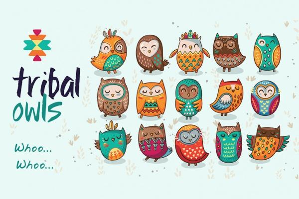 Tribal Owls Pattern Design