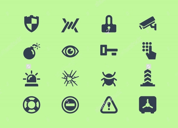 Vector Black Security Icons