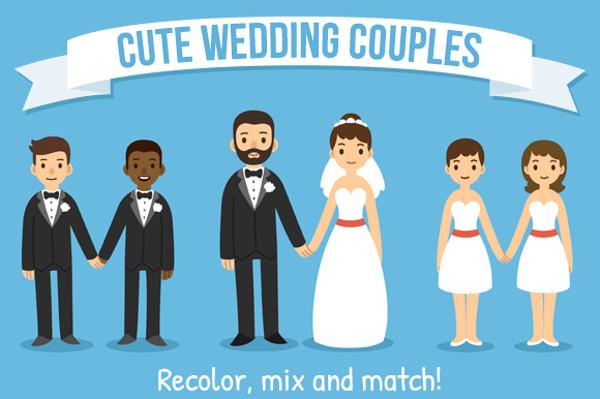 Vector Cartoon Wedding Couples