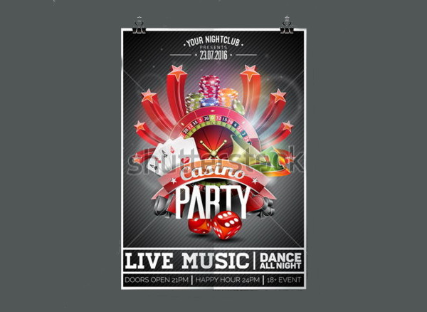 Vector Party Flyer design on a Casino theme