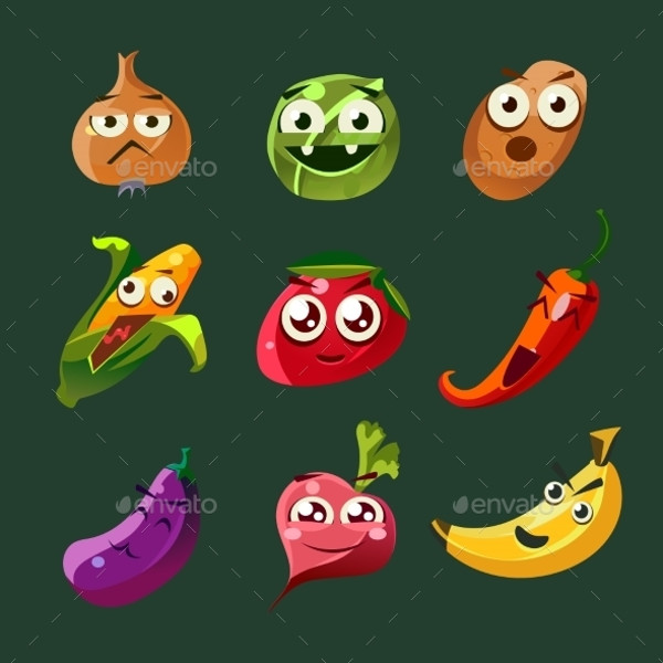 Vegetable And Spice Cartoon Vector