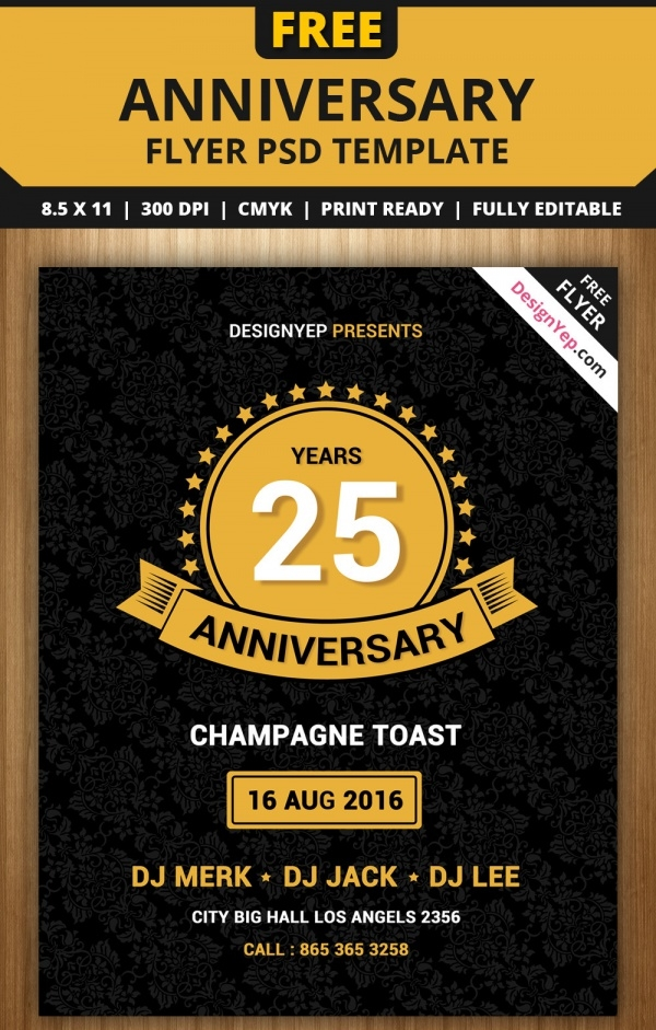 Vintage Anniversary PSD Flyer Template