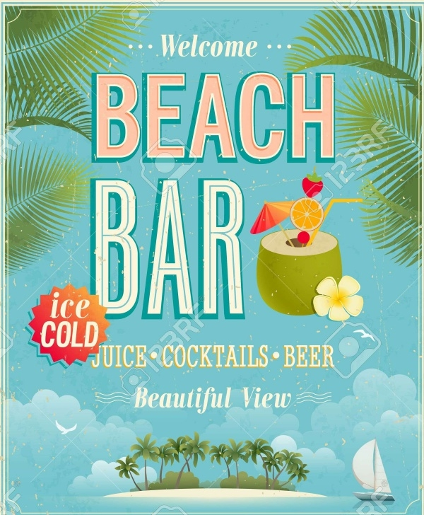 Vintage Beach Bar Poster Flyer