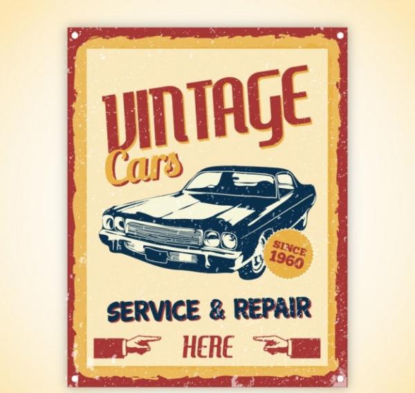 Vintage Cars Poster Flyer