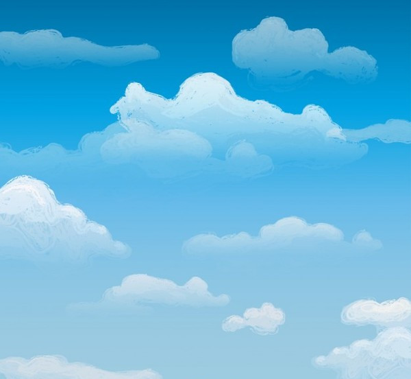 Watercolor Sky with Clouds Vector