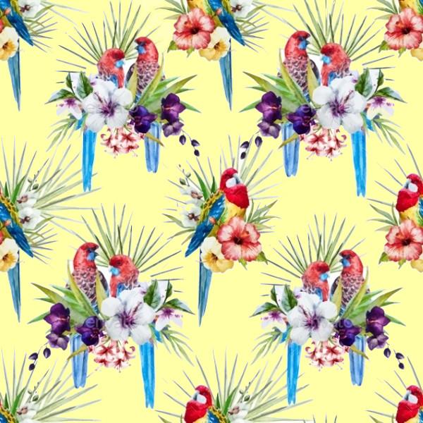 Watercolor Vector Bird Pattern