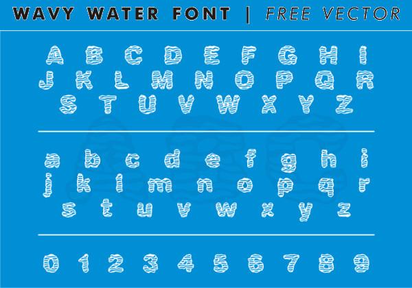 Wavy Water Font Vector