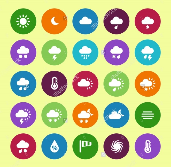 Weather circle icons on white background