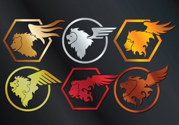 Winged Lion Vector Set
