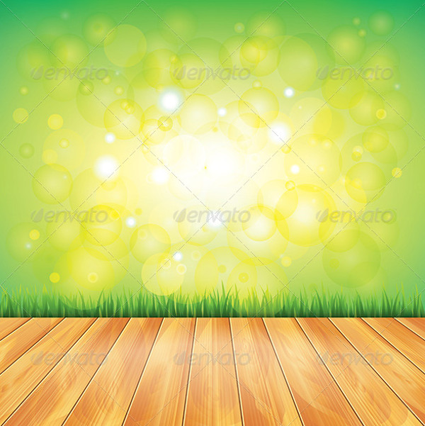 Wood Floor and Green Grass, Vector