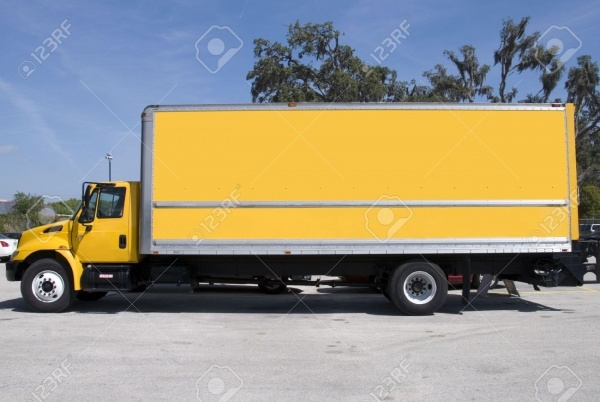 Yellow Box Delivery Truck Mock-up