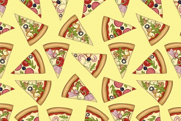 Yummy Pizza Colorful Pattern