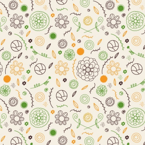 hand drawn spring flowers Pattern