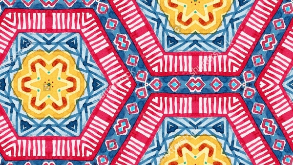 hand painted folk tribal seamless pattern