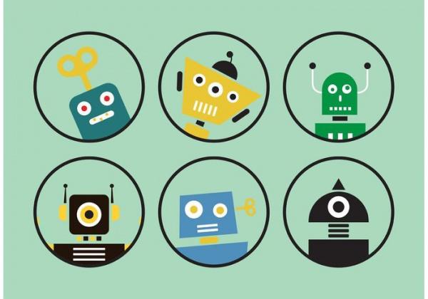 Retro Human Robot Vectors