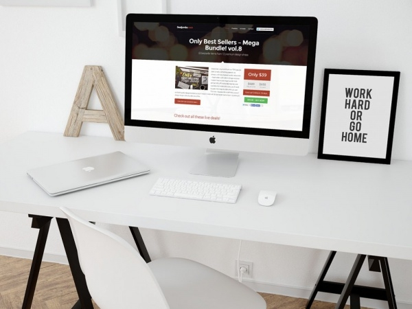 iMac in clean workspace Desk Mockup
