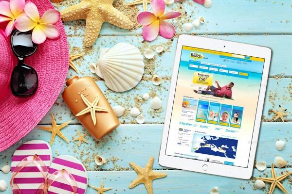 iPad On The Beach Mockup