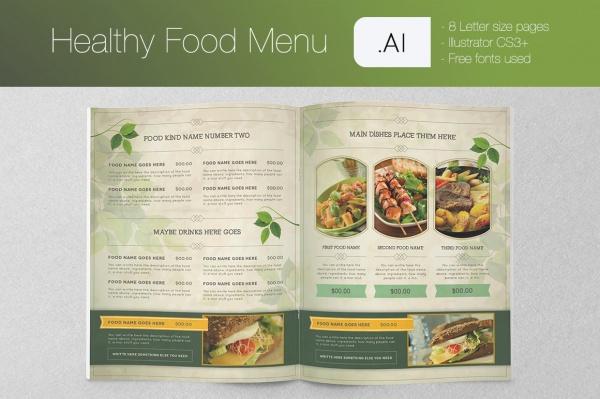 Healthy Food Menu Brochure Template