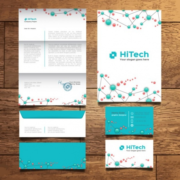 modern tech stationery design
