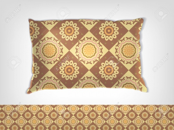 pillow with indian pattern mockup