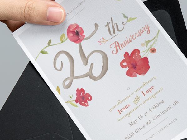 Typography Watercolor Anniversary Invitation